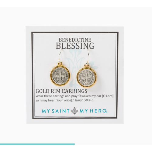 My Saint My Hero My Saint My Hero Benedictine Blessing Gold Rim Earrings EBGRM