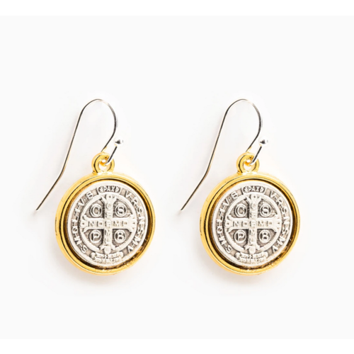 My Saint My Hero My Saint My Hero Benedictine Blessing Gold Rim Earrings
