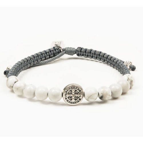 My Saint My Hero My Saint My Hero Wake Up and Pray Bracelet Slate/Howlite/Silver