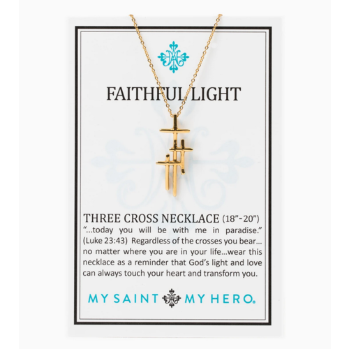 My Saint My Hero My Saint My Hero Faithful Light 3 Cross Necklace Gold