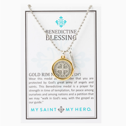 My Saint My Hero My Saint My Hero Benedictine Blessing Gold Rim Necklace