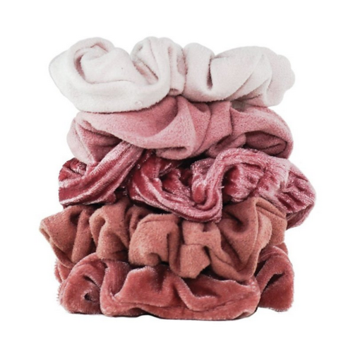 Kit-Sch Velvet Scrunchies Blush/Mauve