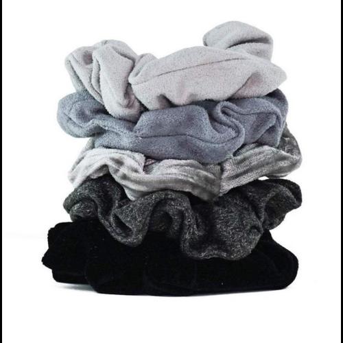 Kit-Sch Velvet Scrunchies Blk/Gry 3195