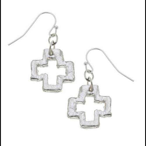 Susan Shaw Silver Open Cross Earring