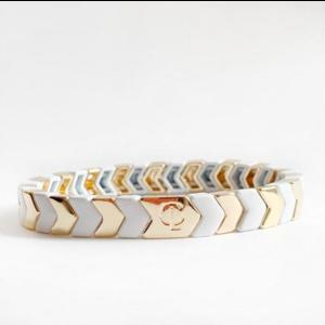 caryn lawn Caryn Lawn Tile Bracelet GOLD WHT CHEVRON