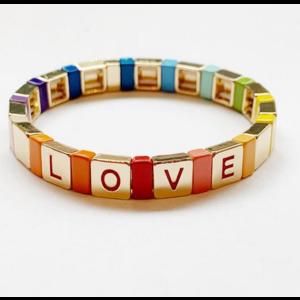 caryn lawn Caryn Lawn Tile Bracelet LOVE GOLD Rainbow