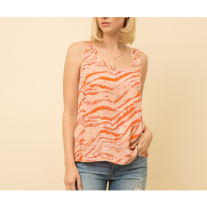 Mystree Mystree S/L Print Combo Top Blush/Rust