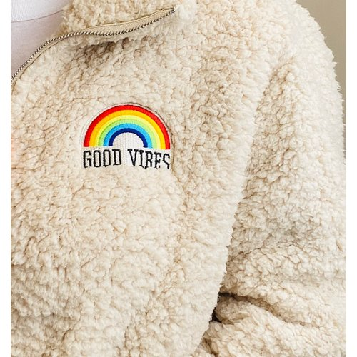 sub urban riot Sub Urban Riot Good Vibes Rainbow Teddy Zip Jkt An Wht W4071-2