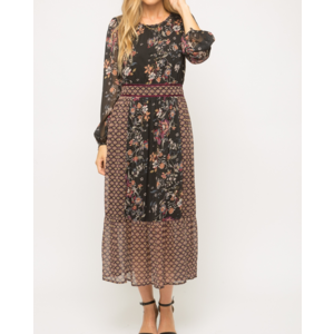 Mystree Mystree Printed Dress Blk Mix