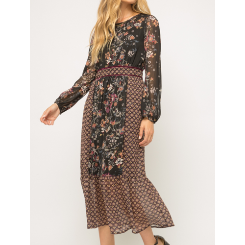 Mystree Mystree Printed Dress Blk Mix 18524C