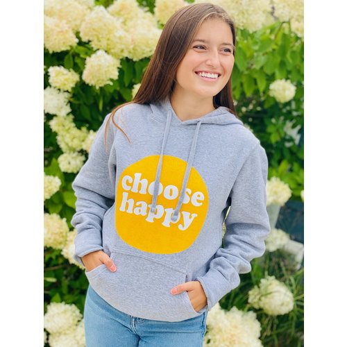 HAPPY SOL Happy Sol Choose Happy Hoodie Grey