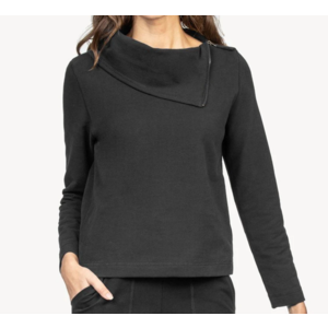 Lilla P Lilla P Zip Neck Top Black