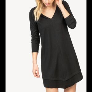 Lilla P Lilla P Rib Trim V Neck Dress Black