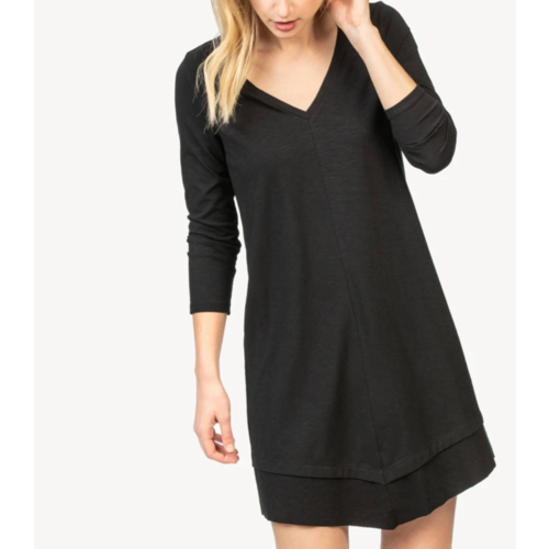 Lilla P Lilla P Rib Trim V Neck Dress Black PA1275