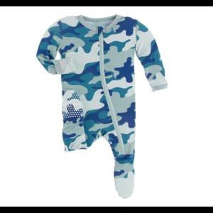 Kickee Pants Kickee PAnts Print Footie W Zipper Oasis Military