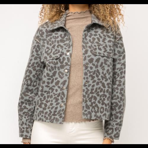 Mystree Mystree Blu Gry Leopard Jacket