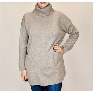 M Made in Italy Taupe Turtle Sweater