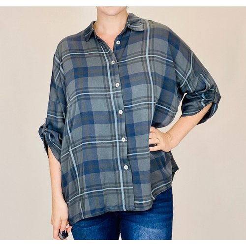 M Made in Italy Anthracite Check Shirt 21/20090GN