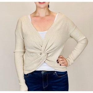 M Made in Italy Cream Knot Twist Sweater