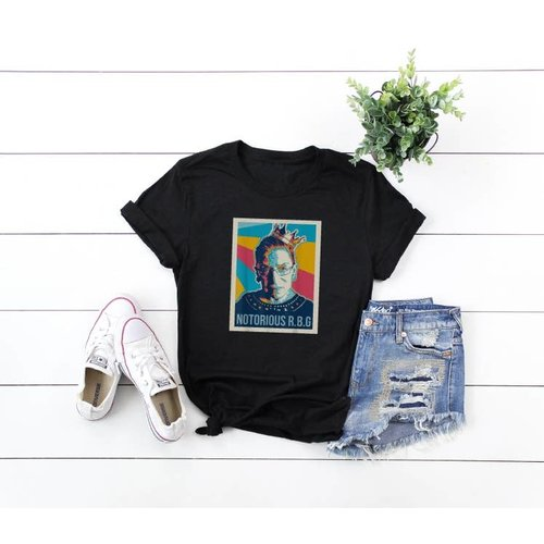 glitter and glam RBG Notorious Tee Black