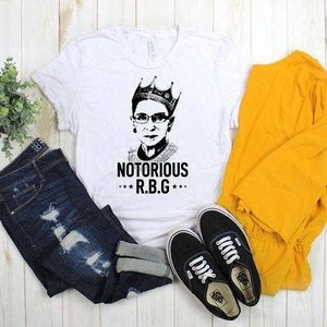 glitter and glam Notorious RBG Tee Wht