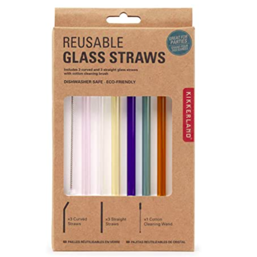 Kikkerland Kikkerland Colored Reusable Glass Straws CU279