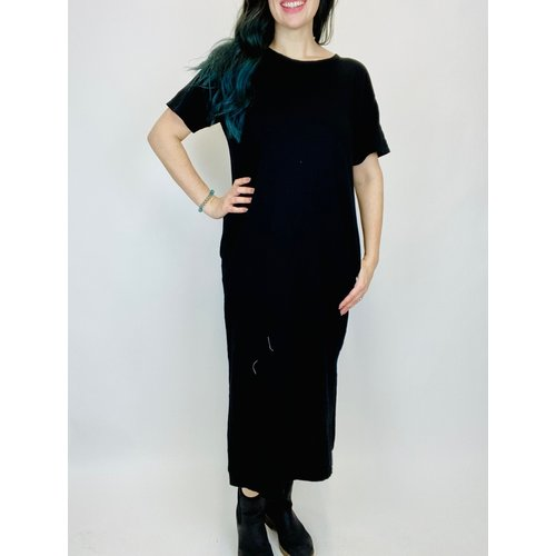 Mod-o-doc Mododoc S/S Midi T Shirt Dress BLK 47A-95728