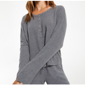 Z Supply Z Supply Aimee Henley Rib Top Pewter