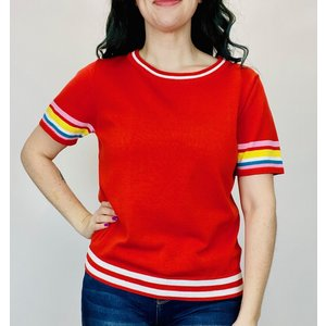 THML THML Stripe Sleeve Top Red