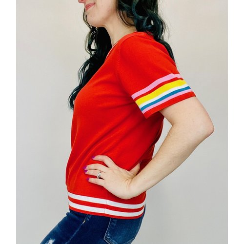 THML THML Stripe Sleeve Top Red TMK1256