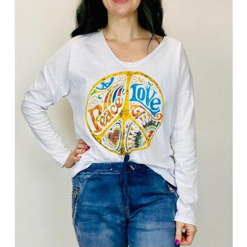 brand bazaar Brand Bazar Peace Love Top White