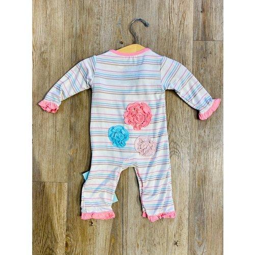 Kickee Pants Kickee Pants Print LS Dahlia Flower Romper Cupcake Stripe
