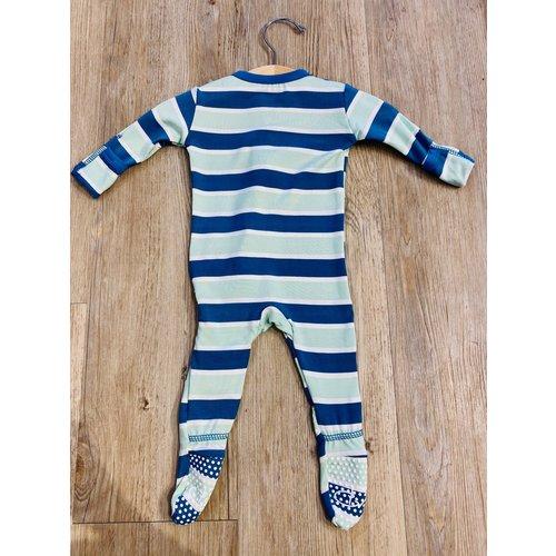 Kickee Pants Kickee Pants Print Footie With Zipper Seaside Cafe Stripe