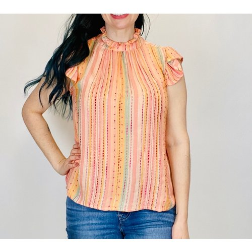 THML THML Stripe Flutter Sleeve Top SRT1129