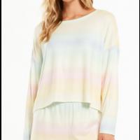 Z Supply Skylar Rainbow LS Top Dusty Aqua
