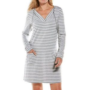 coolibar Coolibar Catalina Beach Cover Up Dress Grey/Wht Stripe 01403