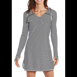 coolibar Coolibar Seacoast Swim Cover Up Dress Blk/Wht Stripe