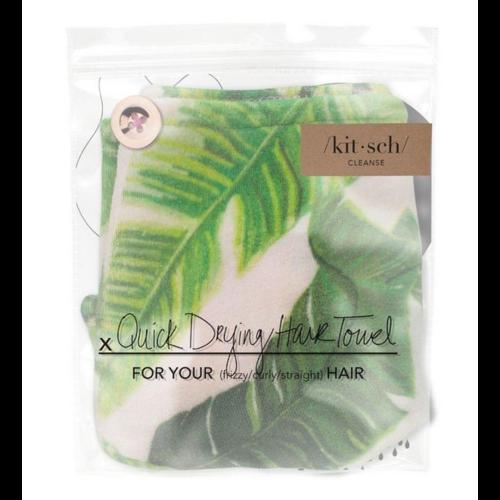 Kit-Sch Microfiber Hair Towel Palm Print