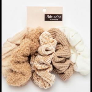 Kit-sch Assort Text Scrunchies Sand