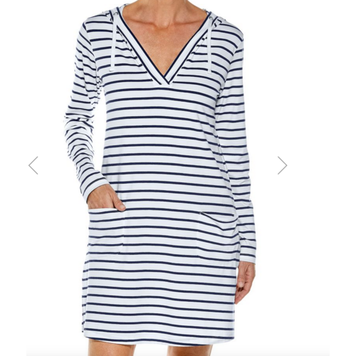 coolibar Coolibar Catalina Cover Up Dress Wht/Navy Stripe