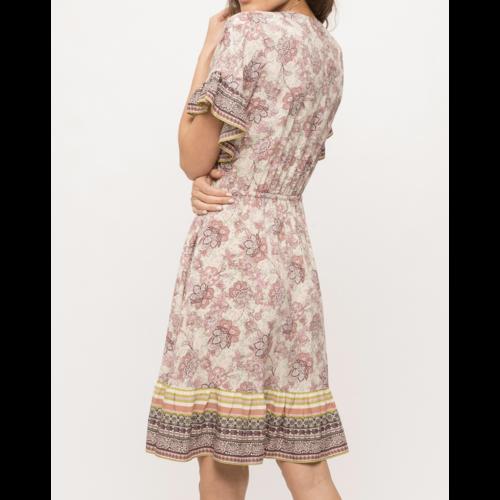 Mystree Mystree Print Drape Front V Dress Mauve 19189Q