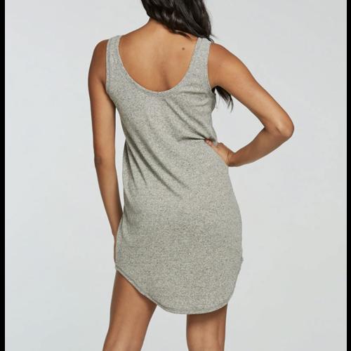 Chaser Chaser Linen Rib Henley Dress Hthr Grey CW8726