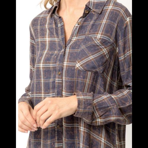 Mystree Mystree Plaid Shirt NAVY 19335