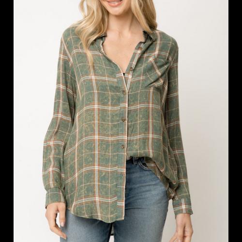 Mystree Mystree Plaid Shirt GREEN 19335
