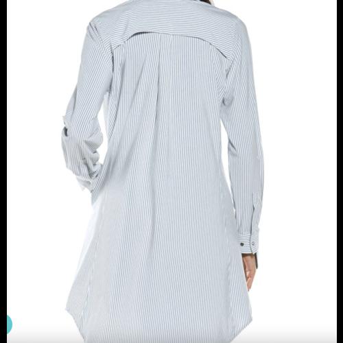 coolibar Coolibar Malta Travel Shirt Dress Wht/Moonlight Stripe 10364