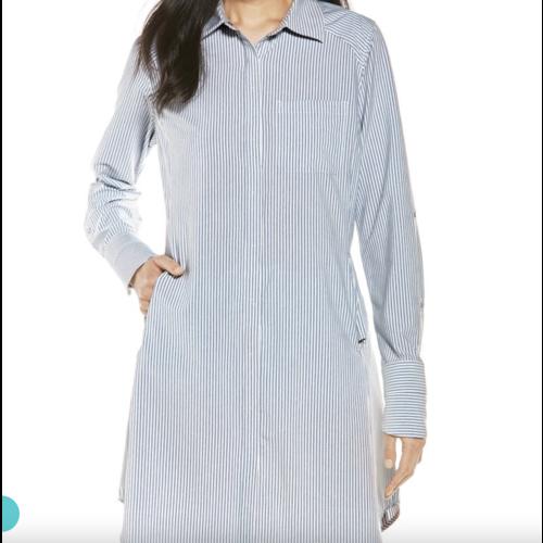 coolibar Coolibar Malta Travel Shirt Dress Wht/Moonlight Stripe