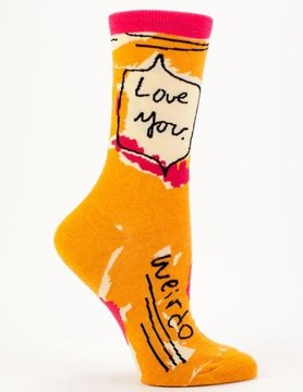 BLUE Q Blue Q Love You Weirdo Crew Socks SW444