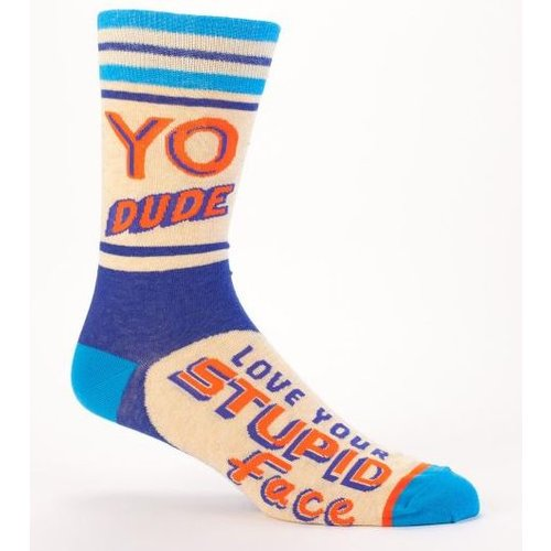 BLUE Q Blue Q Yo Dude. Stupid Face Men's Socks SW821
