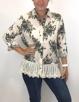 Mystree Mystree Peplum Shirt Taupe Mix