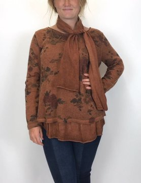 M Made In Italy M Made In Italy Floral 2 layer Top Camel